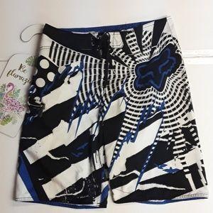 Fox Racing》Black White Blue Swim Board Shorts 32